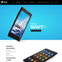 Web con catálogo de productos de telefonía móvil y tabletas Ibold